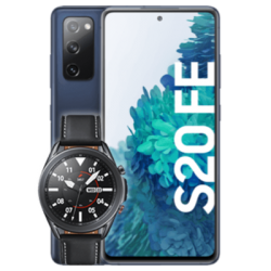 Galaxy S20 FE mit Watch3 Blau Frontansicht 1