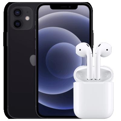 iPhone 12 mini mit AirPods Schwarz Frontansicht 1