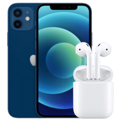 iPhone 12 mini mit AirPods Blau Frontansicht 1
