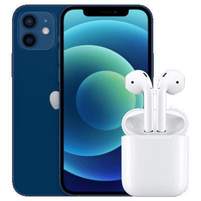 iPhone 12 mini mit AirPods Blau Frontansicht 1