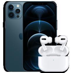 iPhone 12 Pro Max mit AirPods Blau Frontansicht 1