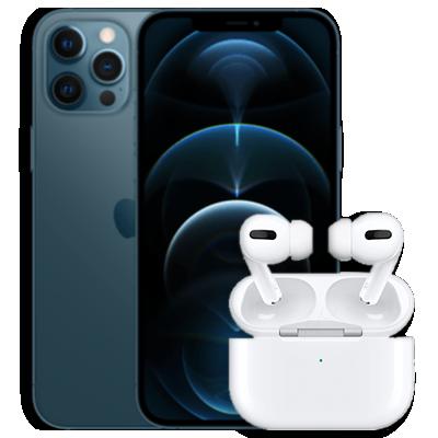 iPhone 12 Pro Max mit AirPods Pro Blau Frontansicht 1