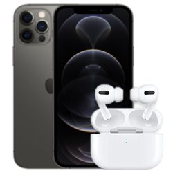 iPhone 12 Pro mit AirPods 2 Grau Frontansicht 1