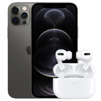 iPhone 12 Pro mit AirPods Pro Grau Frontansicht 1