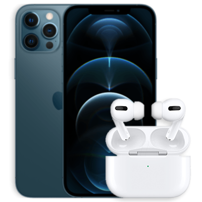 iPhone 12 Pro mit AirPods Pro Blau Frontansicht 1