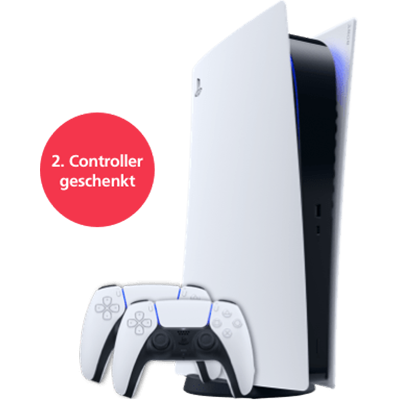 PS 5 Digital Edition mit EXTRA Controller Weiß Frontansicht 1