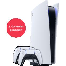 PS5 Digital Edition mit EXTRA Controller Weiß Frontansicht 1