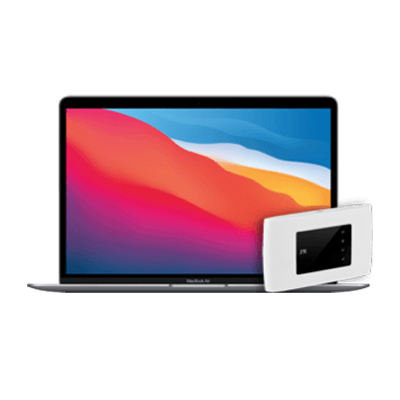 MacBook Air (M1) mit Mobile Wifi-Router Grau Frontansicht 1