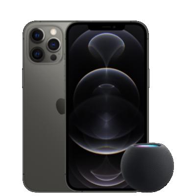 iPhone 12 Pro Max mit HomePod Mini Grau Frontansicht 1