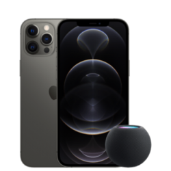 iPhone 12 Pro mit HomePod mini Grau Frontansicht 1